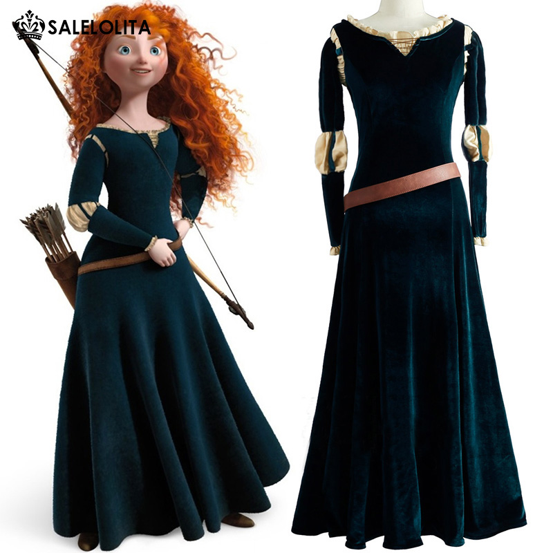Halloween Princesse Pour Party Picture Brave Femmes New Costumes Film Adulte Robes Marque Velours Merida Vert Cosplay As IwpqnTPRxS