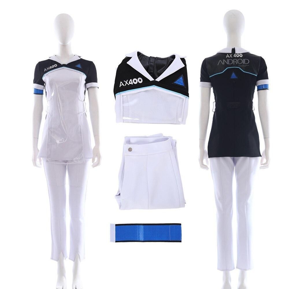 Femme Cos vêtements Detroit devenir humain Cara bionique uniforme femmes complet Costume Top + pantalon + brassard Cosplay Costume DY18039