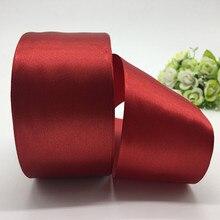 5 jardas/lote 50mm Deep red Fita de Cetim Bow Artesanato Decor Festa de Natal Do Casamento Decoração DIY Ofício de Costura suprimentos