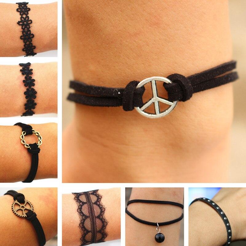 Retro Peace Rivet Leather Bracelet Charm Lace Daisy Flower Bangle For Men Women Punk Jewelry Bijoux 2018 pulseras One Direction