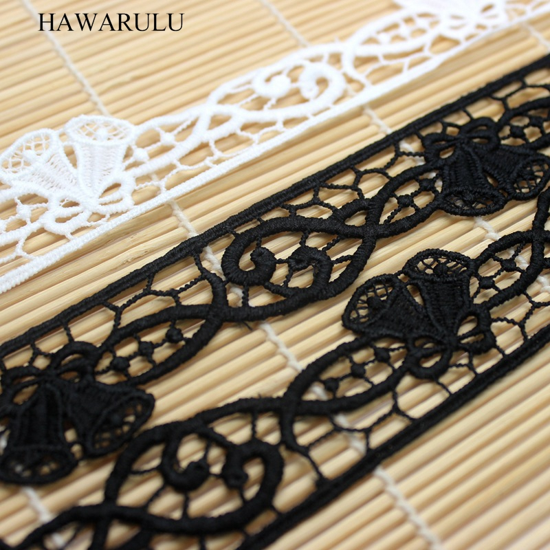 HAWARULU 2yard Handmade DIY 3 2CM Christmas Jingle Bell lace embroidery Christmas gift box wrapping ribbon lace fabric wedding in Lace from Home Garden