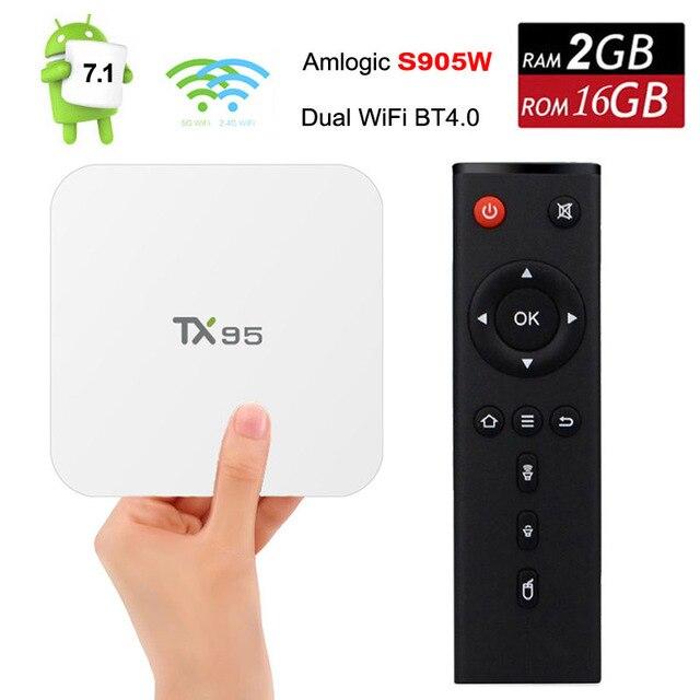 2.4G/5.8G Double Wifi TV Box Android 7.1 Amlogic S905W Quad Core 2 GB RAM 16 GB ROM TX95 Bluetooth 4 K Smart Media Player Blanc Boîtes