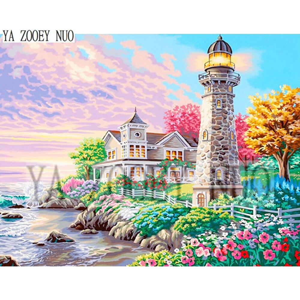 YA ZOOEY NUO Beacon Heart Bay Lighthouse Sea House DIY Diamond Painting Cross Stitch Diamonds Embroidery Mosaic Home Decor K1386