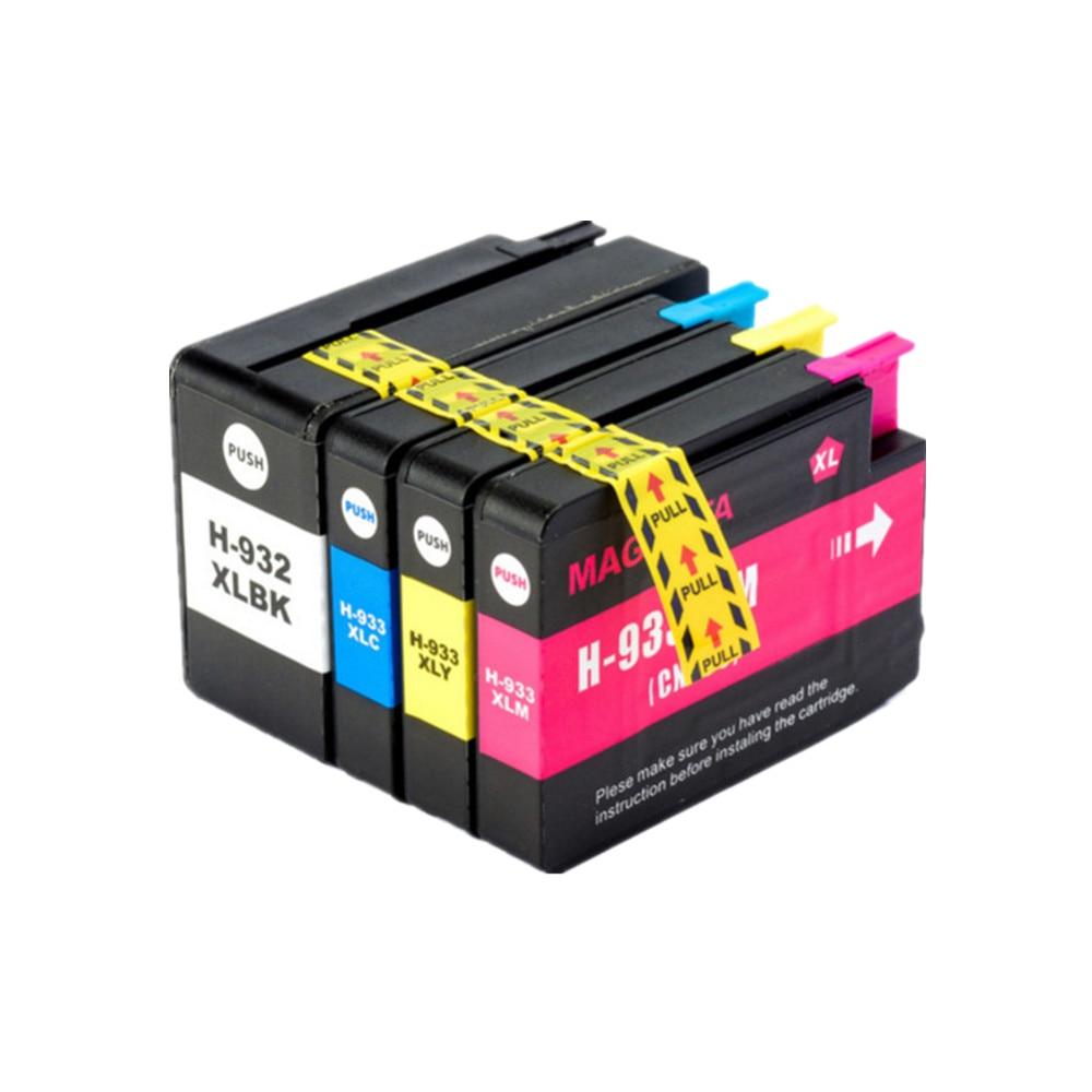 YI, LE CAI 4PK 932XL 933XL 932 933 Cartouche d'encre compatible pour hp Office jet 6100 6600 6700 7110 7610 7612 imprimante 4 pièces/ensemble