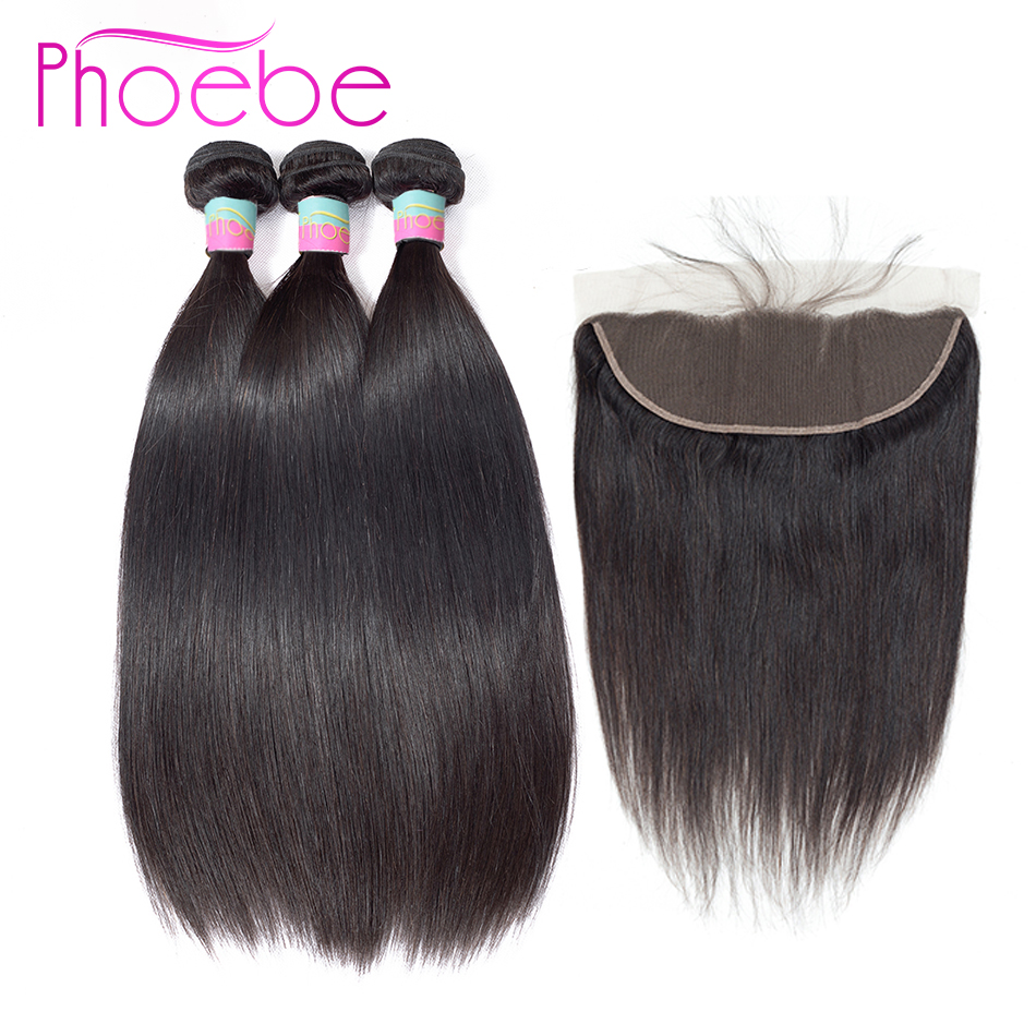 Phoebe Hair Pre colored Straight Human Hair Weave 3 Bundles With 13 4 Lace Frontal Closure
