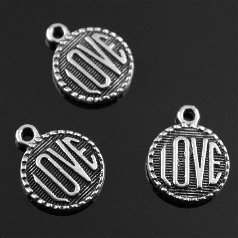 60 шт./лот 15 мм 2 цвета старинное серебро, античная бронзовая круглая форма двусторонняя любовь подвески