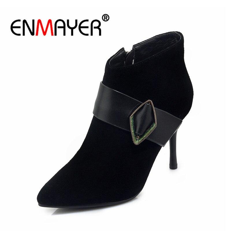 Hauts Enmayer Hiver Martin Mode Black Talon Mince Talons Pointu Cr972 De 39 Femme Boucle Bottines 34 Bout Taille Zip Automne Bottes vmn0ON8w