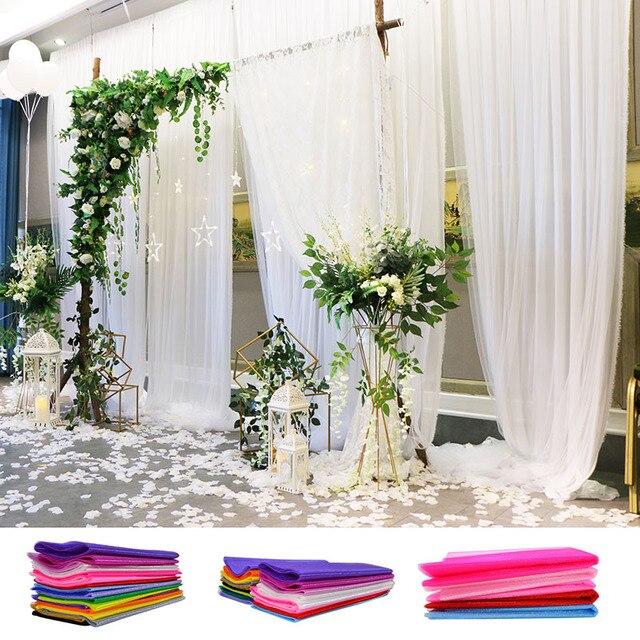 48/72 cm 10 metros de cristal transparente Organza tul rollo de tela para decoración de boda DIY arcos silla fajas fiesta favor suministros 75