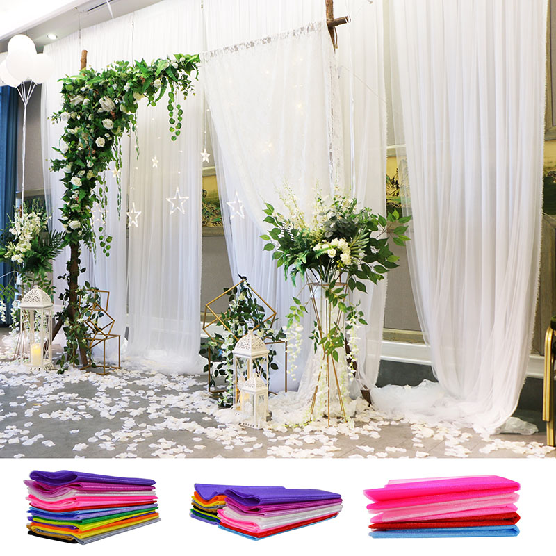 Diy Wedding Arch With Tulle: 48/72cm 10 Meters Sheer Crystal Organza Tulle Roll Fabric