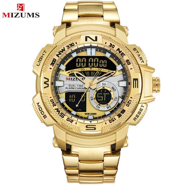 2018 New Fashion Men Watches Full Steel Men's Quartz Hour Clock Analog LED Watch