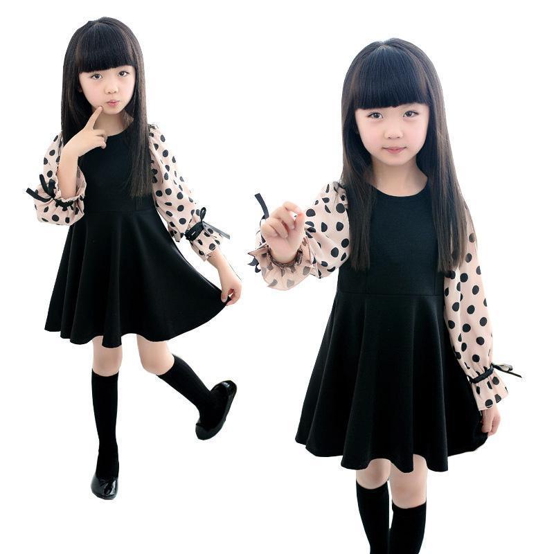 A-line Dresses for Girls 3 4 5 6 7 8 9 10 11 12 Years 2018 New Long-Sleeve Cotton Black Girls Dress Dot Children Clothing