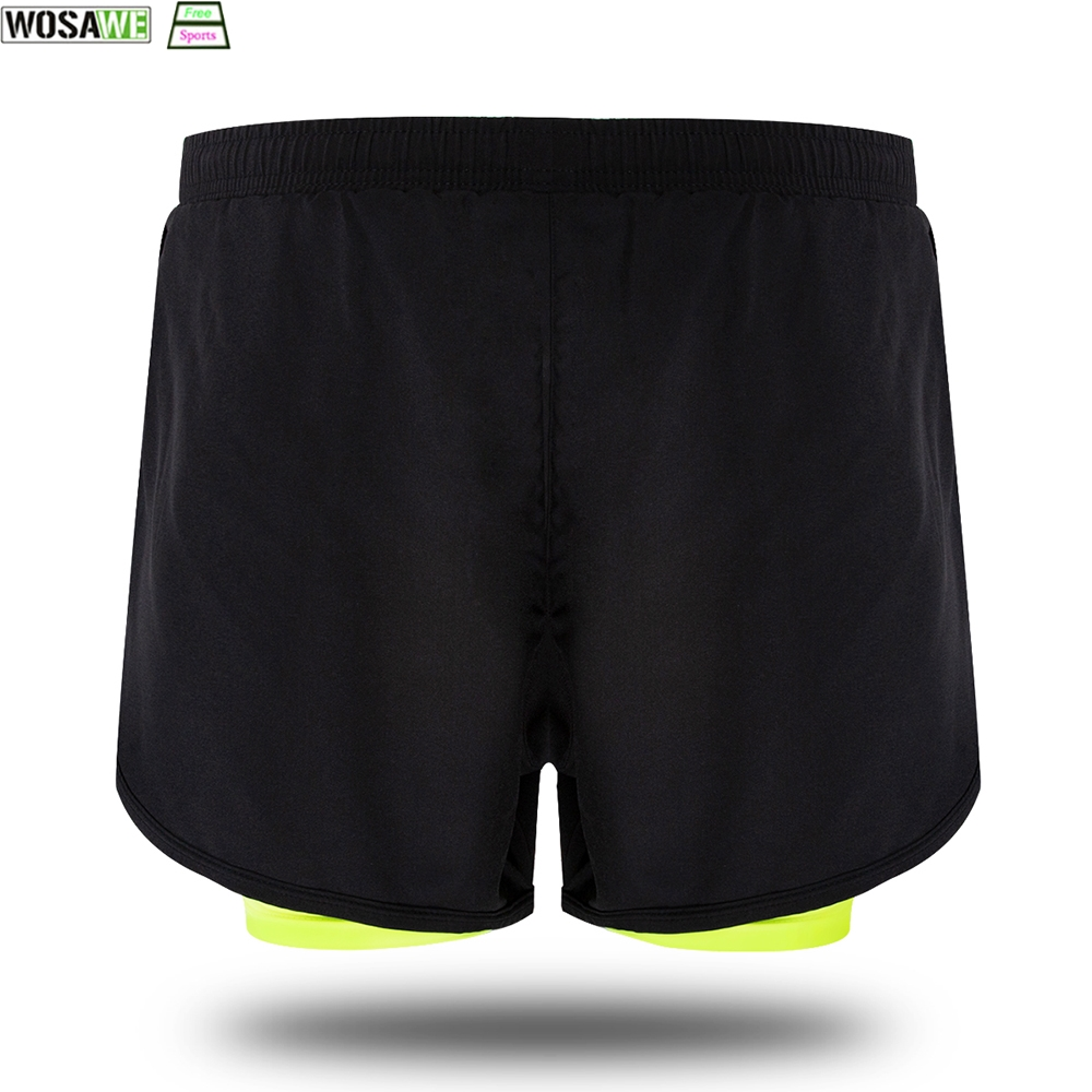 WOSAWE Cycling Fake 2 Pieces Shorts Quick Dry Mens Sports Running Shorts Training Exercise Jogging Shorts With Longer Liner in Cycling Shorts from Sports Entertainment