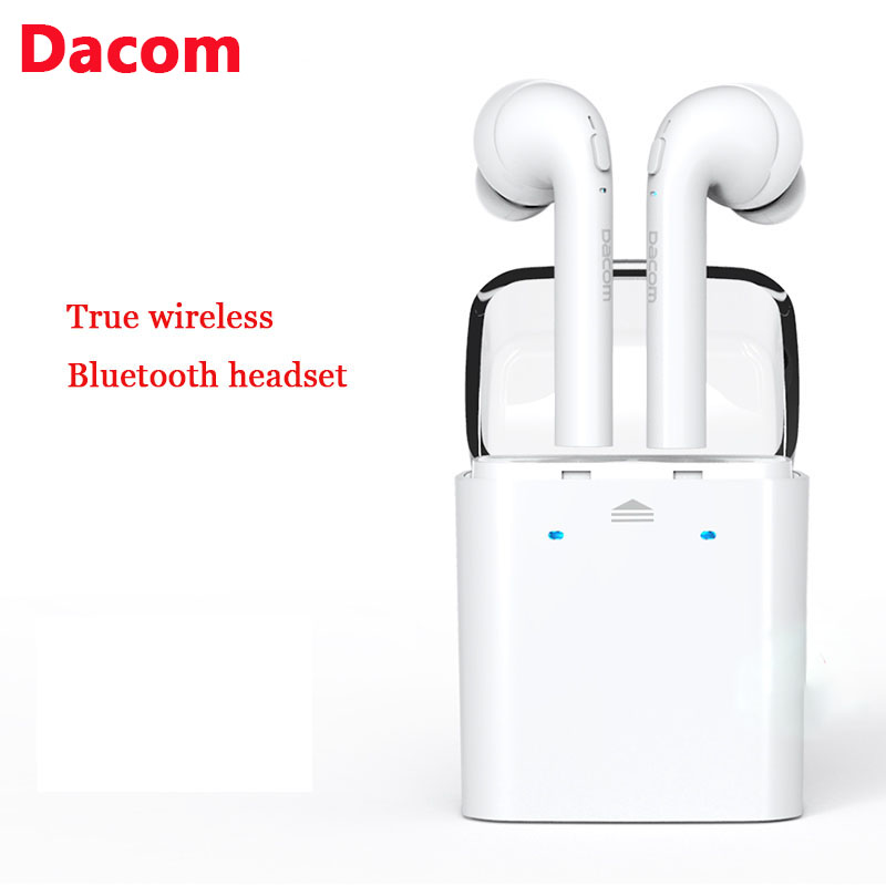 New Dacom TWS True Wireless Bluetooth Headset Mini Bluetooth 4.2 Wireless Earpiece Earbuds In-Ear Earphone For Iphone 7 Android remax 2 in1 mini bluetooth 4 0 headphones usb car charger dock wireless car headset bluetooth earphone for iphone 7 6s android