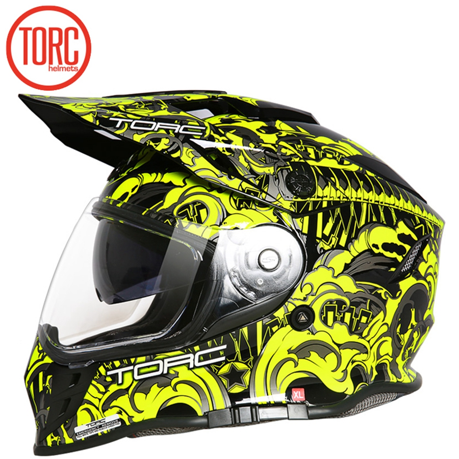 Frete grátis 1 pcs DOT Modular De Fibra De Carbono Off Road Racing capacete de Moto Virar Para Cima do ABS ECE Dupla Viseira Completa capacete Da Motocicleta Da cara