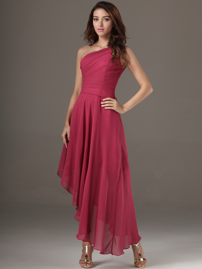 2017 New Winter Discount Prom Little High Low A-Line Chiffon One Shoulder Asymmetrical Women Bridesmaid Dress For Wedding