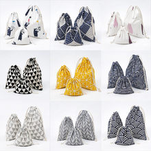 Hot sale Fashion Fresh Women Shopping Bag With Drawstring Cotton Travel Underwear Shoe Storage Organizer Bag Pouch(China)