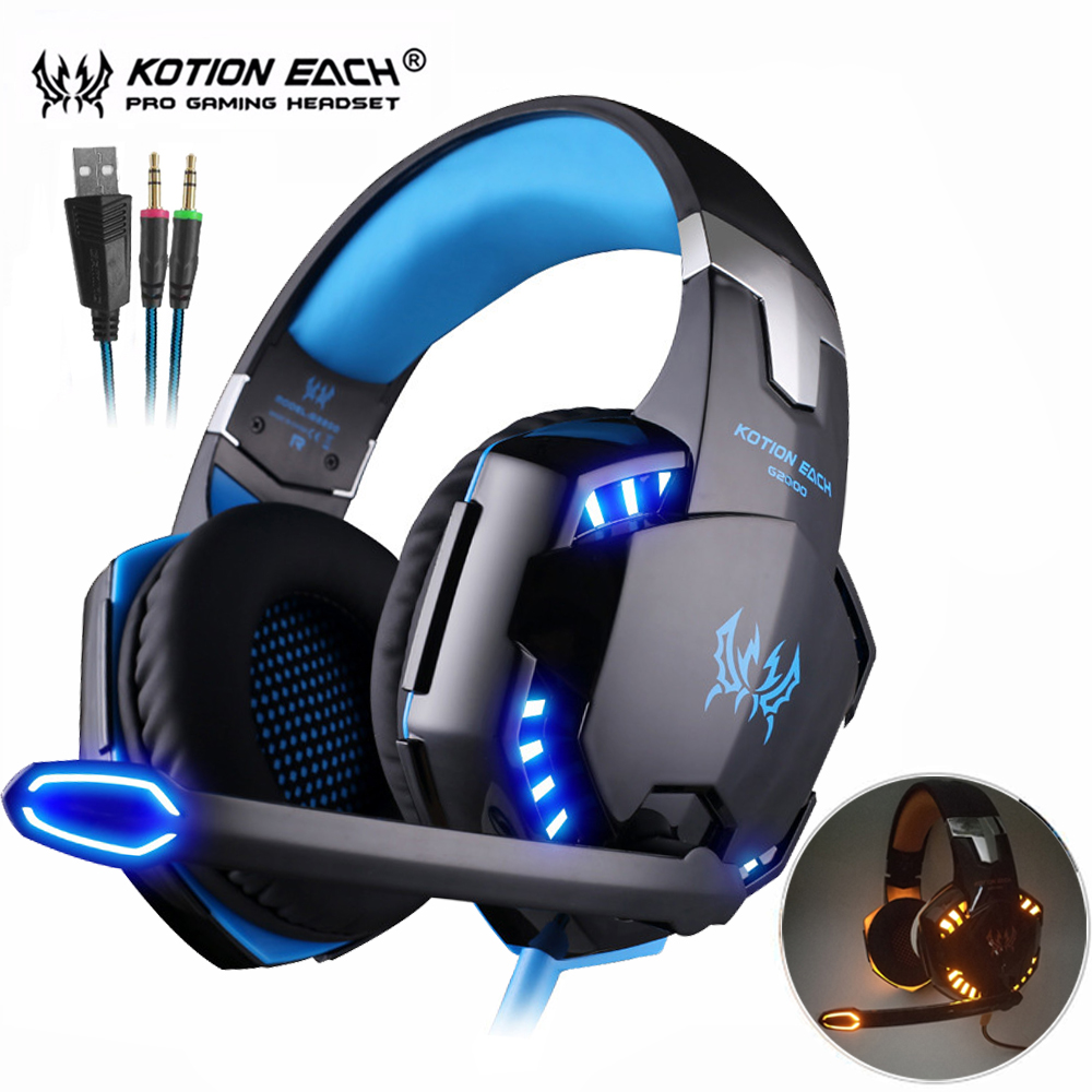 Kotion SETIAP G2000 / G4000 Casque Komputer Gaming Headphone Stereo Terbaik Jauh Bass Permainan Earphone Headset dengan Mic LED Backlight