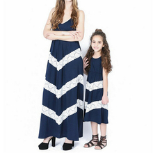 Mother Daughter Dresses Striped Dress Family Look Mother Daughter Clothes Sundress Women Girl Dresses Matching Family Outfits family look clothes brand european black rose pleated a shape sleeveless skirts women midi sundress mother and daughter dresses