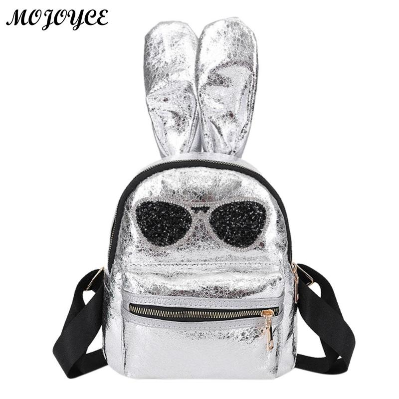 f0d01e1dcd Glitter Glasses Rabbit Ear Women Girls PU Leather Mini Backpacks Travel  Zipper Casual Shoulder School Bags Features  The fashion version of the  type concise ...