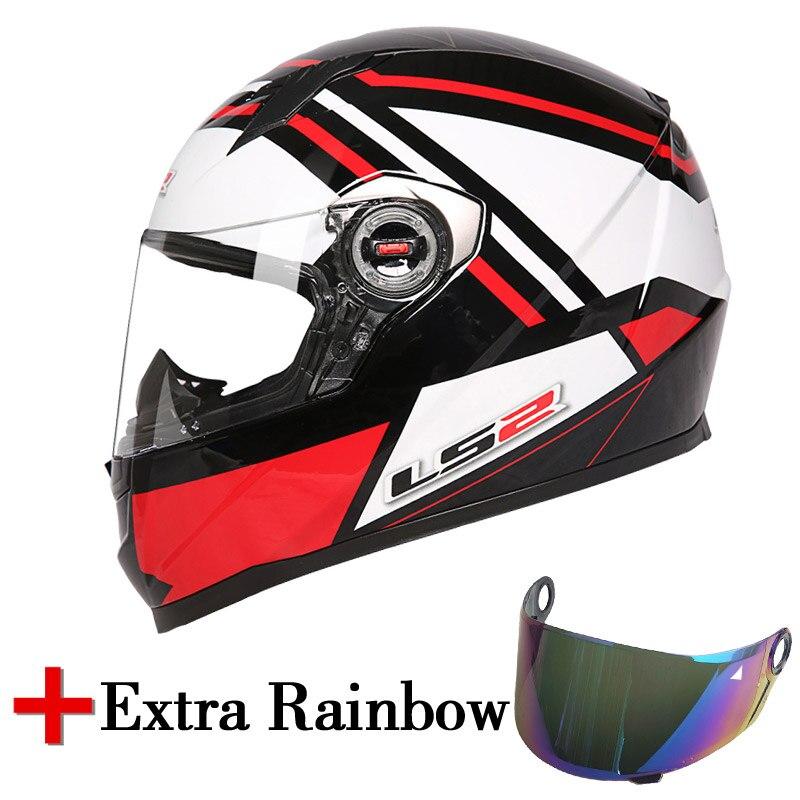 LS2 FF358 casque moto rcycle intégral ajouter une lentille arc-en-ciel supplémentaire blanc noir couleur casques de moto LS2 usine original LS2 casques