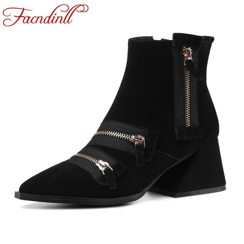 FACNDINLL 2017 new fashion genuine leather women ankle boots black pointed toe zipper shoes woman motorcycle riding boots autumn facndinll genuine leather ankle boots for women new fashion short boots high heels pointed toe lace up women black riding boots