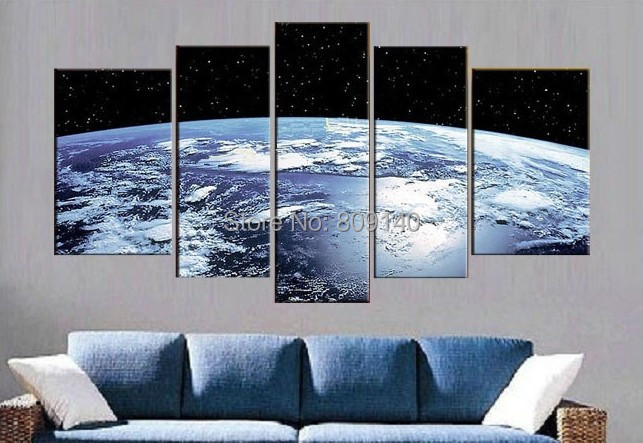 Wall Art For Office Space : Blue earth surface abstract oil painting outer space