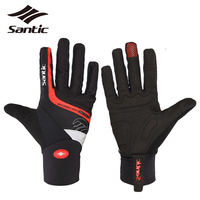Santic Men Cycling Gloves Winter Full Finger Thermal Bike Gloves Guantes Ciclismo Touchscreen Shockproof Padded Bicycle Gloves