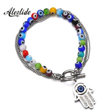 Atoztide Vintage Fatima Hand Evil Eye Beaded Bracelets Multi-layer Blue Stone Chain Bangles Women Man Summer Gifts