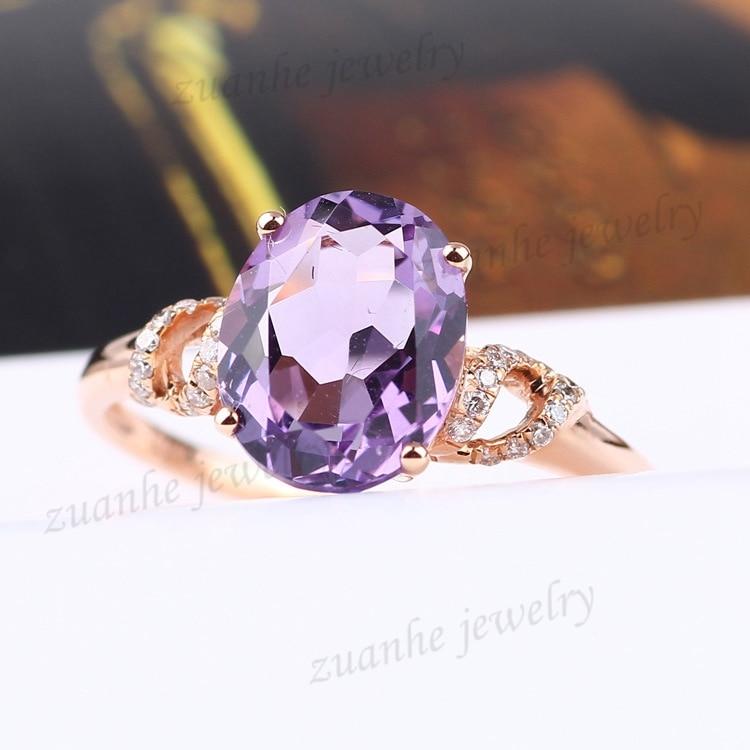 8x10 мм овальным вырезом Природный аметист Diamonds Твердые 14 К розовое золото Для женщин Обручение обручальное кольцо Fine драгоценных камней кол