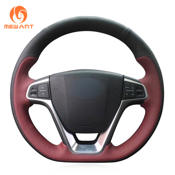 MEWANT Black Wine Red Leather Car Steering Wheel Cover for Geely EMGRAND GT 2015 2016 2017