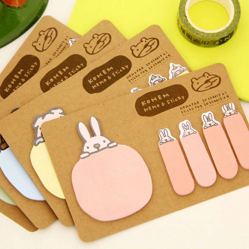 New Memo Pads Cute Creative Cartoon Animal Kraft Paper N Times Post It Note School Office Stationery Kawaii Stickers Note Book