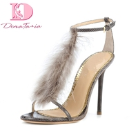 DoraTasia New Brand Design Big Size 33 43 Summer Party Sandal Shoes Women Sexy Fur Thin High Heels Woman Shoes Sandals