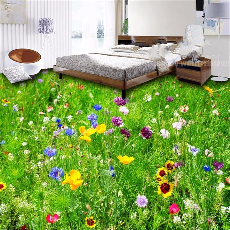 Beibehang Custom Photo Wallpaper 3D Sunflower Bathroom Flooring Mural Non-slip PVC Self-adhesive floor wallpaper 3d flooring free shipping ocean beach stone water floor wallpaper street kitchen waterproof self adhesive non slip floor mural