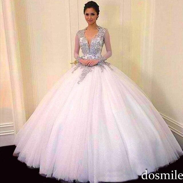 2016 lindo branco manga comprida doce 16 Dresses vestido de baile prata apliques Quinceanera vestidos abrir voltar masquerade vestidos