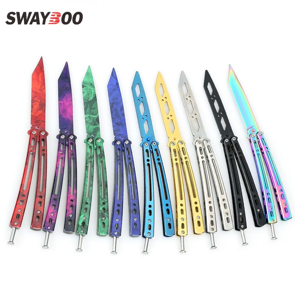 Aletler'ten Bıçaklar'de Swayboo Aynalı katlanır kelebek bıçak cs gitmek eğitmen oyun kelebek bıçak donuk blade kenar aracı kelebek bıçak