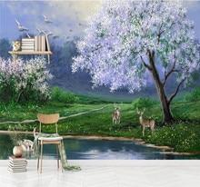 Customized wallpaper beautiful oil painting big tree elk swan TV background wall decoration waterproof material