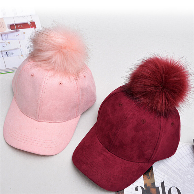 2018 new Elegant female hat cap Winter pompom pink suede baseball cap Women autumn casual streetwear black cap skullies 2017 new arrival hedging hat female autumn and winter days wool cap influx of men and women scarf scarf hat 1866729