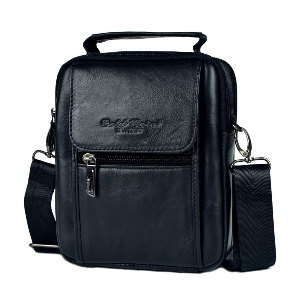 GOLD CORAL Genuine Leather Male Small Messenger Bags For men Shoulder Bag Handbag Cowhide Waist Pack Man Crossbody bag 2018 NEW