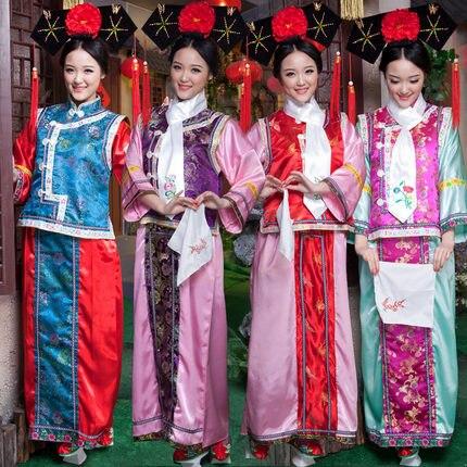 2016 Polyester femmes vente directe de vraies Disfraces Hmong vêtements ancien Costume chinois princesse de la dynastie Qing pour enfant
