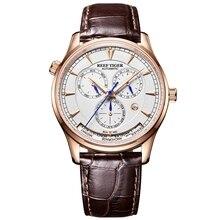 Риф Тигр/RT Мужские автоматические World Time часы с датой день месяц розовое золото кожаный ремешок часы двойной RGA1951