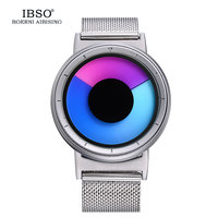 IBSO Mens Watch Women Top Brand Luxury Steel Mesh Strap Colourful Vortex Fashion Creative Quartz Sport