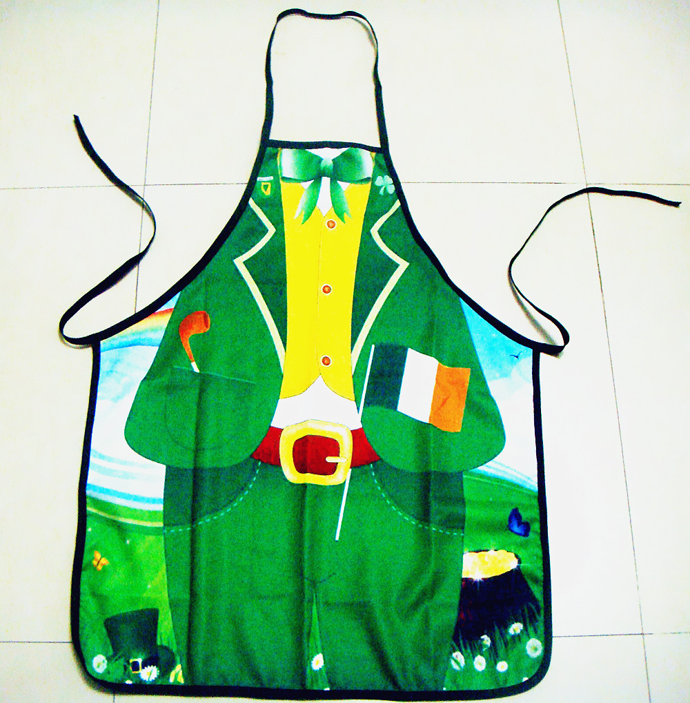 1Pcs BBQ Apron DIY Outdoor Barbecue Accessorie Polyester Lovely Printed Kitchen Cooking Home Green Man 73cm/28.4x57cm/22.2