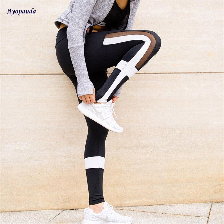 Ayopanda Black And White Splicing Sport Tights White Stripe Cross Fitness Yoga Leggings Comprehension Mesh Yoga Pants Women