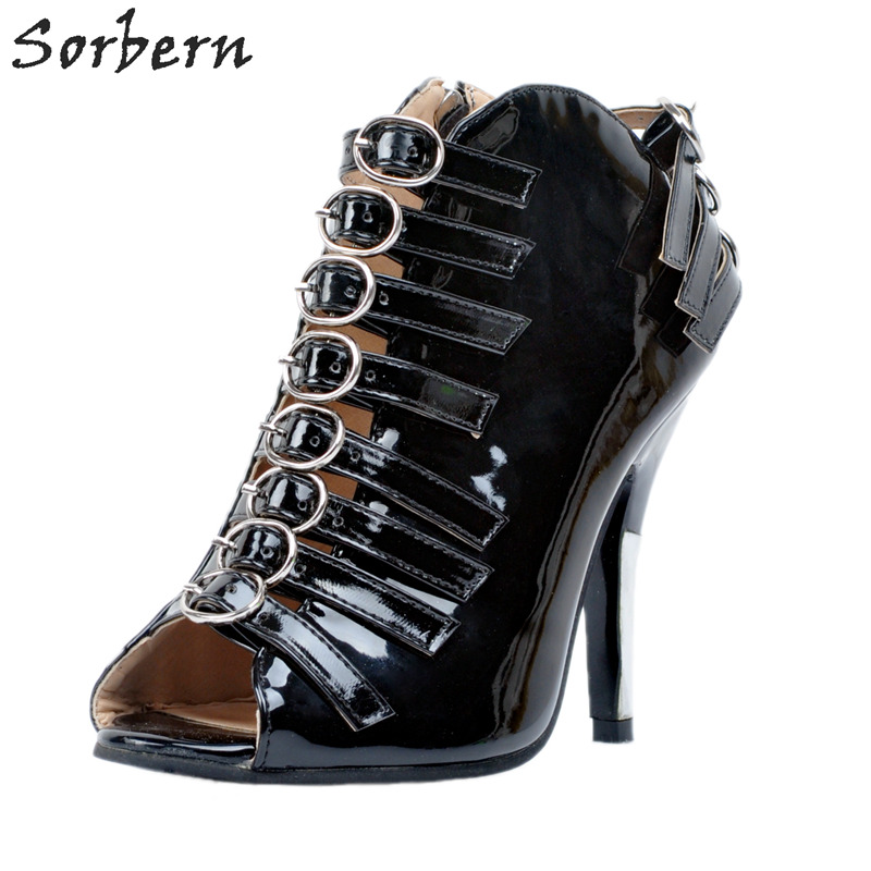Sorbern Fashion Black Peep Toe Women Womens Pumps Heels Women Ladies Shoes Size 44 Heels Buckles Ladies Shoes Pump New
