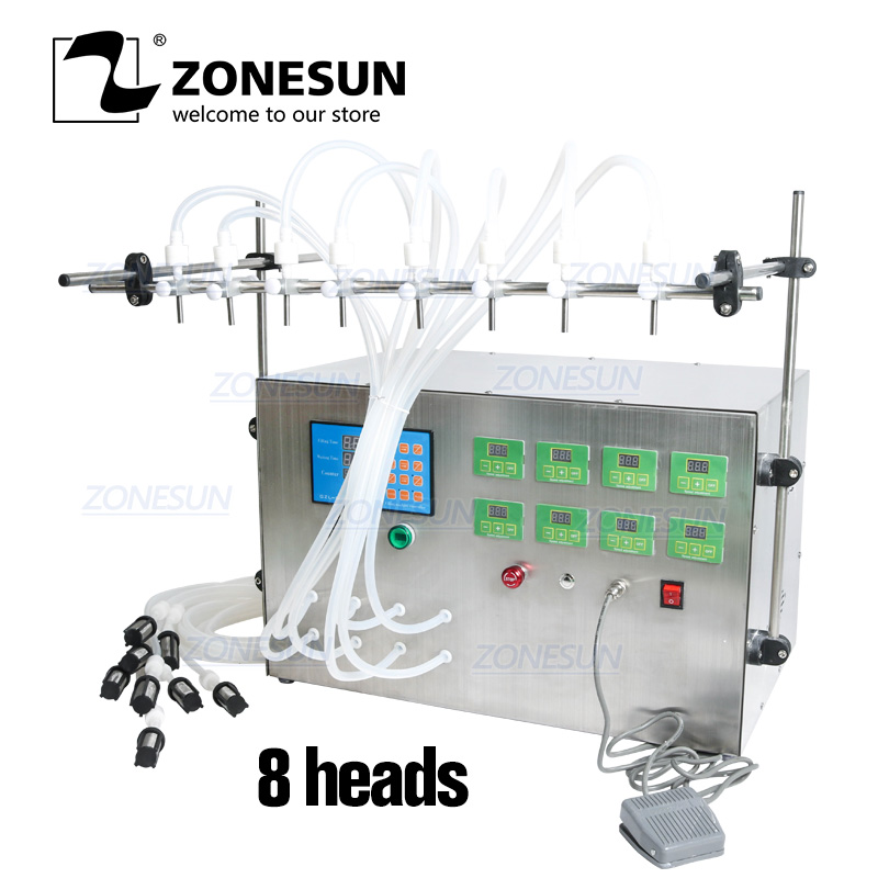 ZONESUN Electric Digital Control Pump Liquid Filling Machine 3-4000ml For Liquid Perfume Water Juice Essential Oil With 8 Heads