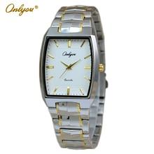 Onlyou Marca de Lujo Reloj de Cuarzo Mujeres Hombres Mujeres Vestido Reloj Jefe Oro Plata relojes de Pulsera Mujer Reloj de Acero Inoxidable 8893