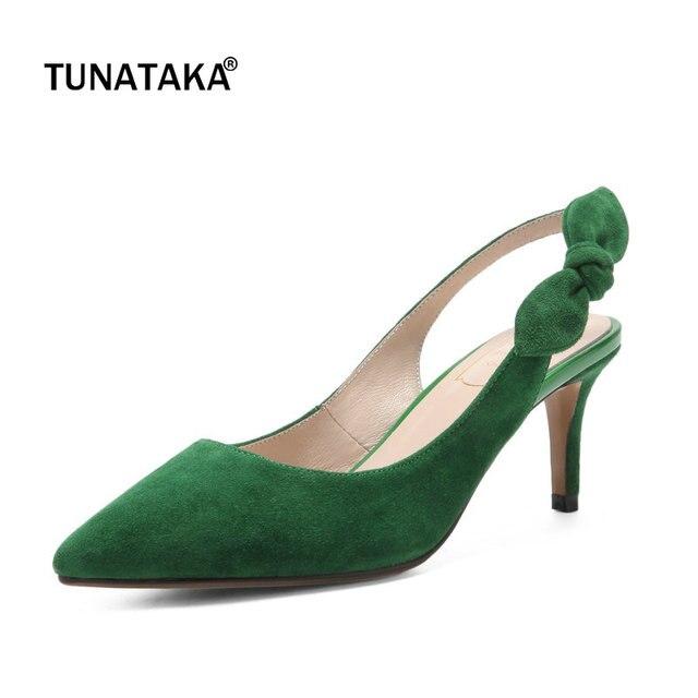 Sude Thin High Heel Pointed Toe Woman Slingbacks Pumps Fashion Bow Knot  Buckle Dress High Heel Shoes Woman Black Green Pink