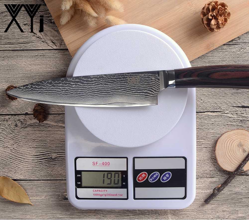 XYj 8 polegada Chef de Cozinha Facas de Aço Damasco Faca Do Chef Beleza Padrão Esforço Leve Cor Punho de Madeira Utensílios de Cozinha