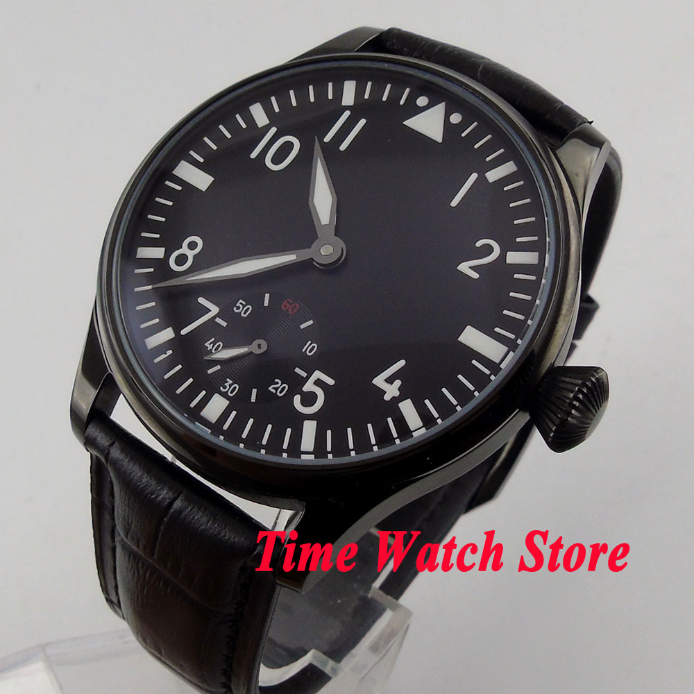 Parnis 44mm black sterial dial luminous black PVD case 6498 hand winding movement Men's watch 147 цена и фото