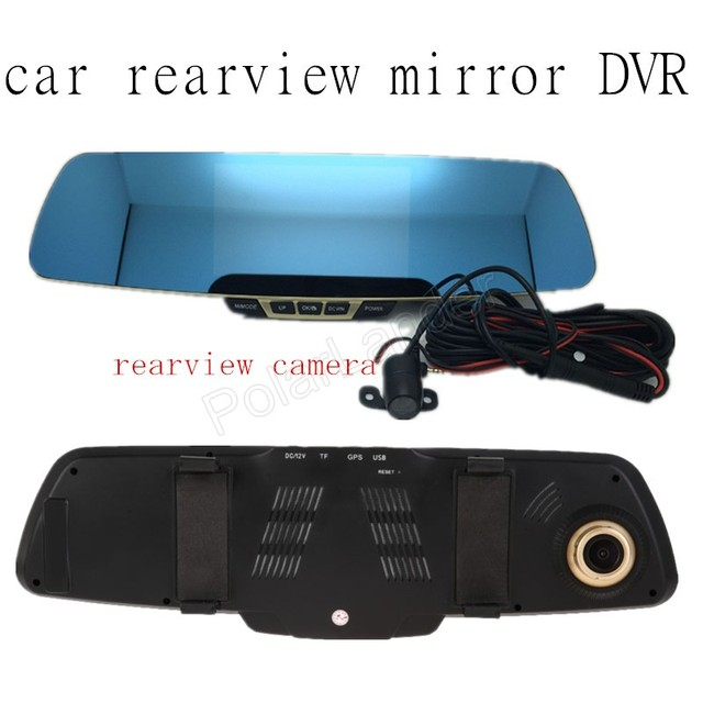 5 inch car rear view dual lens mirror DVR parking video recorder registrato full hd 1080p 170 degree wide viewing angle